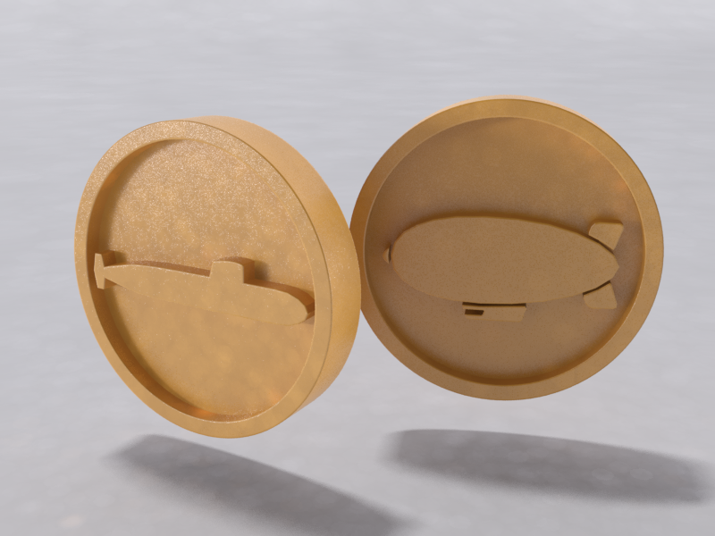 Blimp and Submarine Coin: Toybox - 3D Print Your Own Toys!